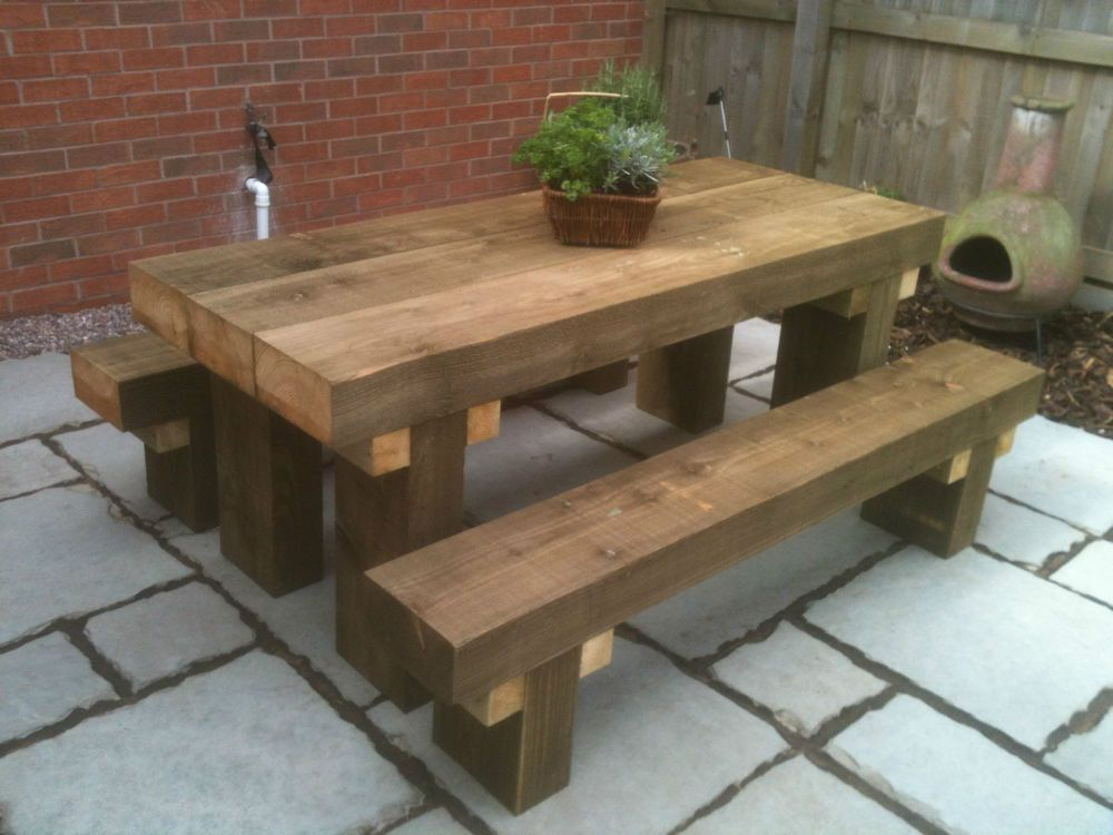 Sleeper picnic table & seats 6ft long chunky tanalised