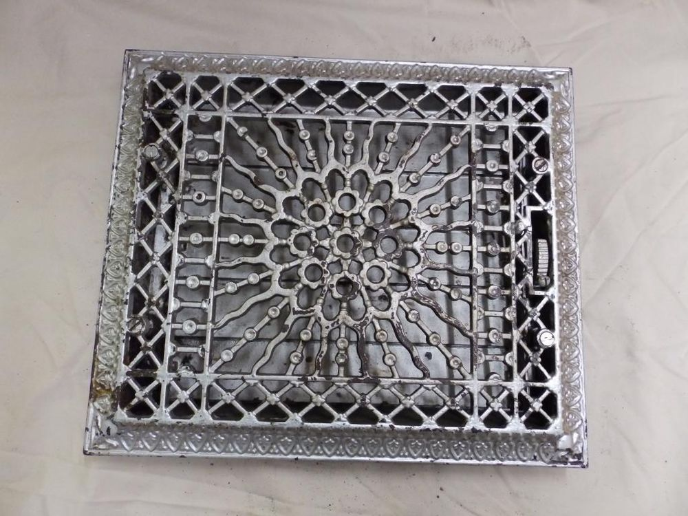 antique wall ceiling floor cast iron register heat grate sunburst old 3766 14 houses. Black Bedroom Furniture Sets. Home Design Ideas