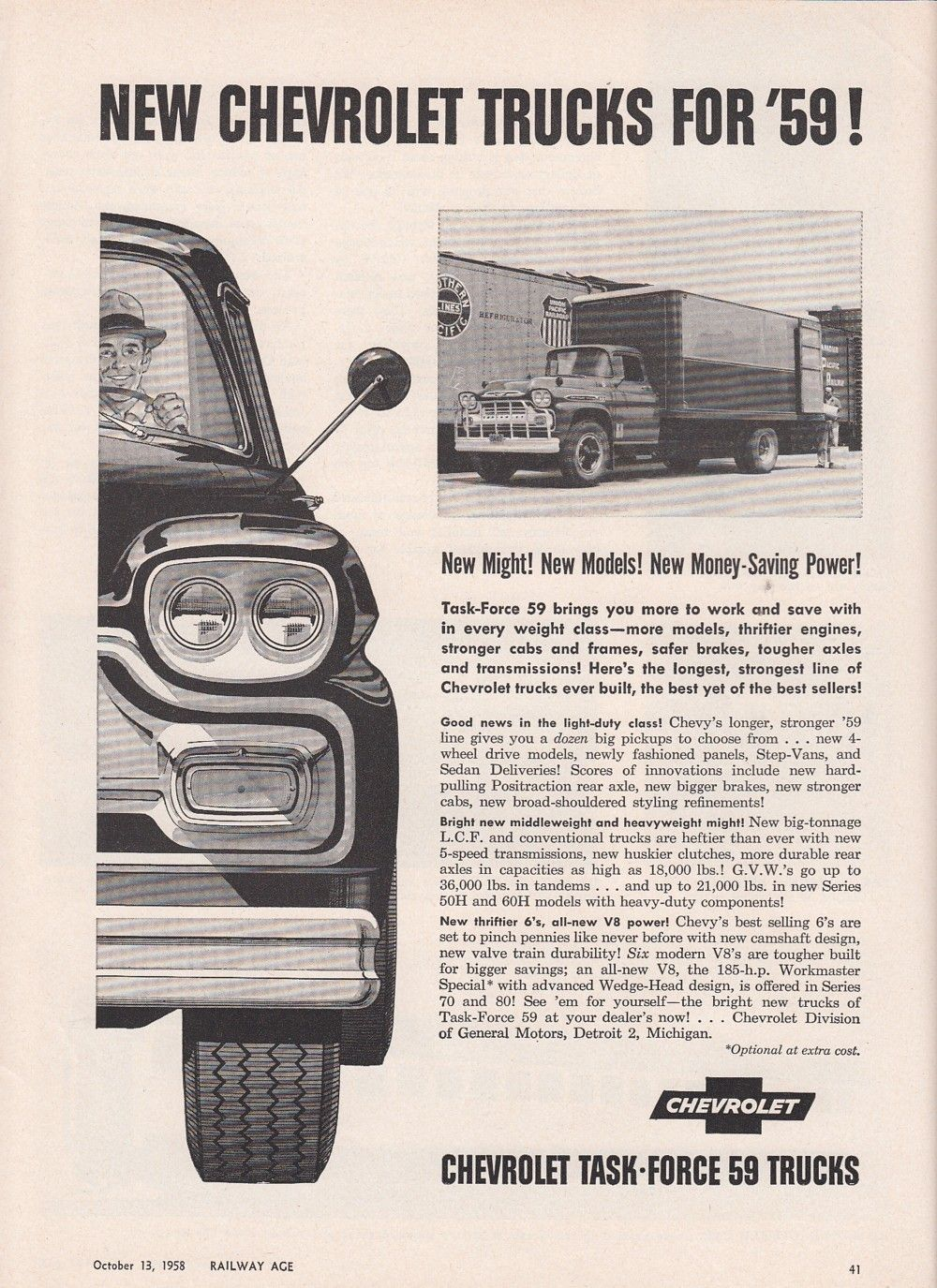 1958 chevrolet ad new chevy truck models new might money saving power ebay