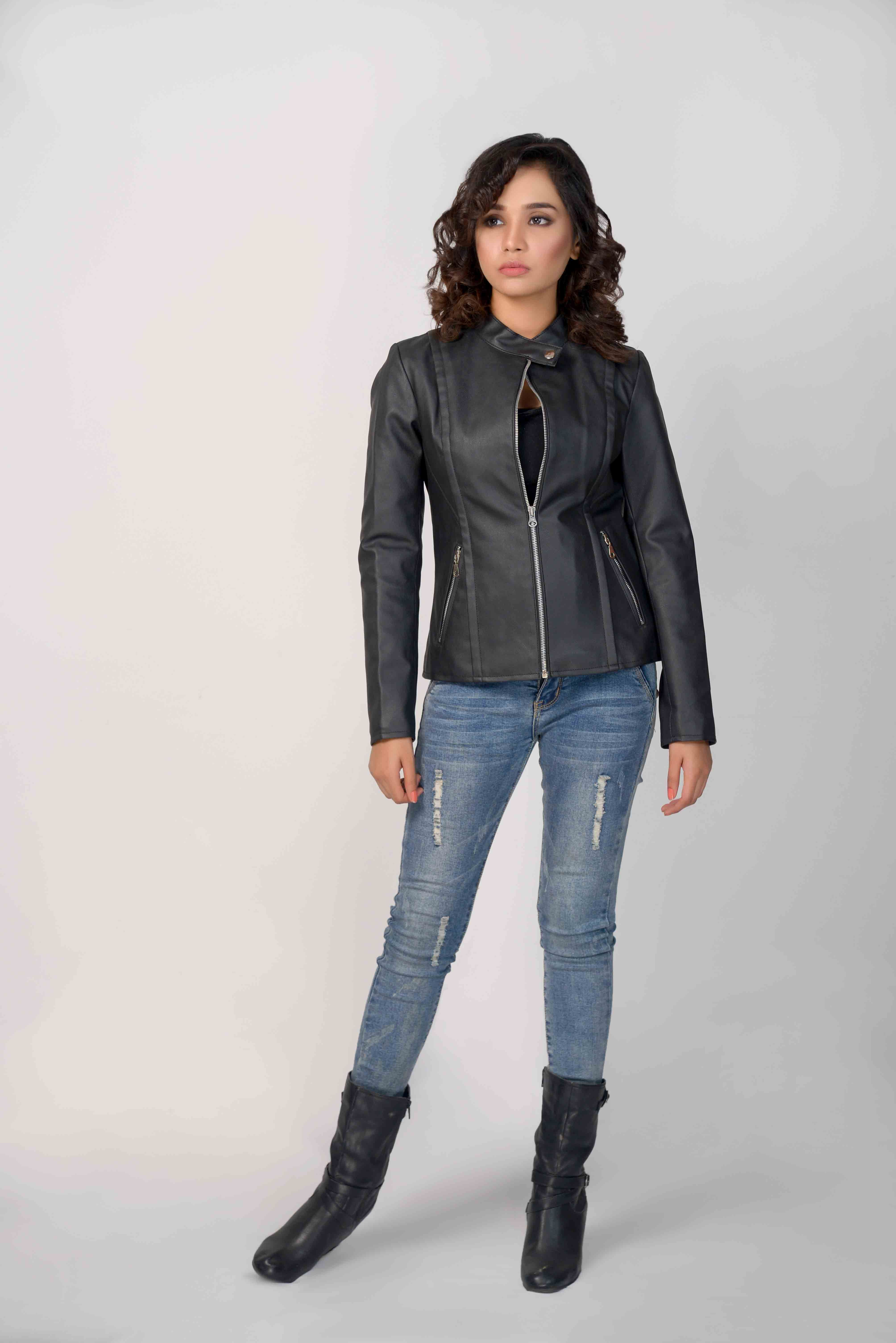 cc4ad71e Women love to wear Matte Black Leather Biker #Jacket to look like stylish biker  girls. Get it from The Leather Makers only for $196.99 #TheLeatherMakers ...
