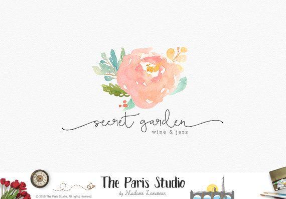 Custom Logo Design Watercolor Flower Logo by TheParisStudio