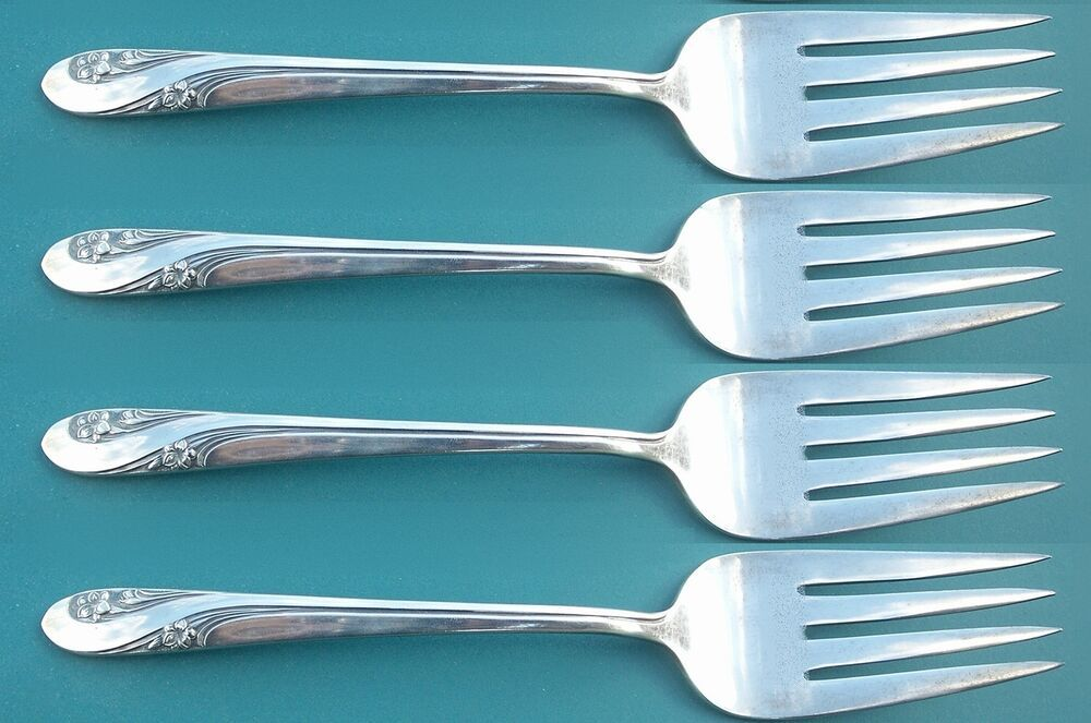 4  International  Holmes /& Edwards   FIRST LADY  Silverplate Salad Forks  1933