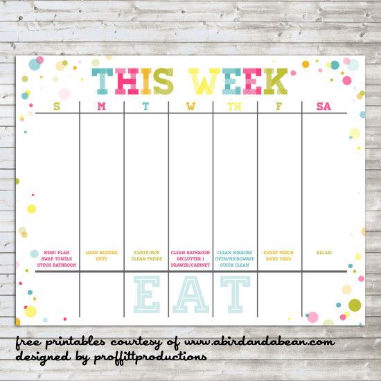 Colorful Weekly Calendar  Free Printable  Free Printable Weekly