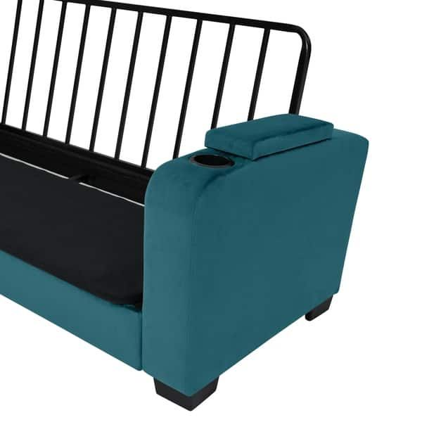 Handy Living Sophia Storage Arm Convert A Couch Sleeper Sofa In