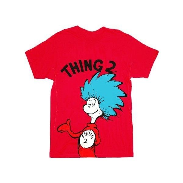6edc0246 Dr. Seuss Thing 1 Thing 2 Adult Red T-shirt ($16) ❤ liked on Polyvore  featuring tops, t-shirts, shirts, red t shirt, red tee, t shirt, red top  and tee- ...