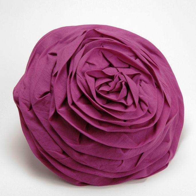 Coussin rond forme fleur 100 coton romantique - Housse de coussin rond ...