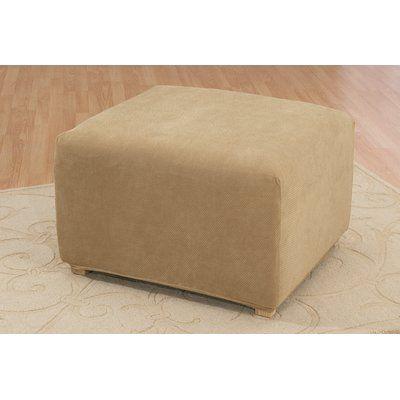 Sure Fit Stretch Pique Box Cushion Ottoman Slipcover