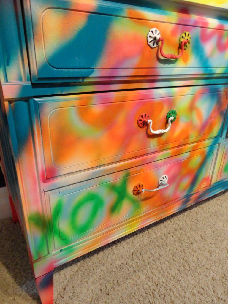Graffiti Diy Dresser Graffiti Furniture Neon Furniture Vintage Neon Signs Spraying painting bedroom furniture