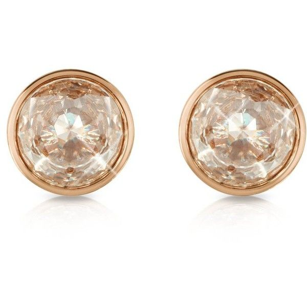 Michael Kors Earrings Crystal Rose Gold Tone Stud Found On Polyvore Featuring Jewelry Pink Jewellery