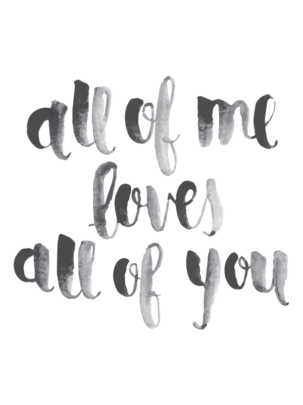 All Of Me John Legend Grey Heart Song Lyric Quote Print