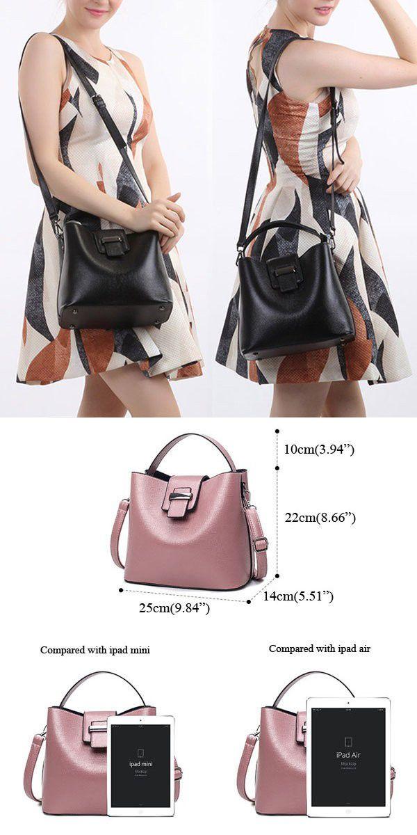d722b04a84 Retro Women Pu Leather Bucket Bag Casual Crossbody Bag Handbag For Women