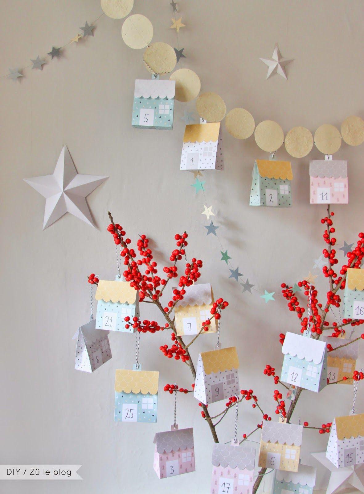 zü: Calendrier de l'Avent DIY / Le village - Frei Adventskalender zum drücken - Advent Calendar free printable