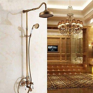 Shower Faucet - Antique Antique Brass Shower System Ceramic Valve ...
