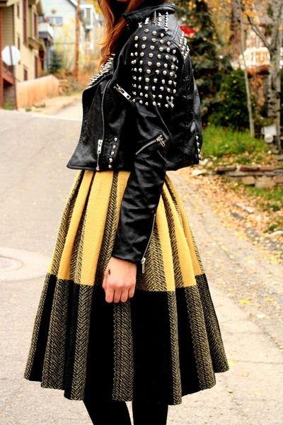 Tough jacket + vintage skirt