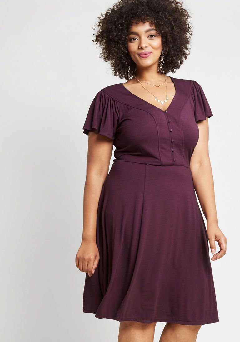 566fa04d788 Recommended Ruffles Knit Dress in Purple