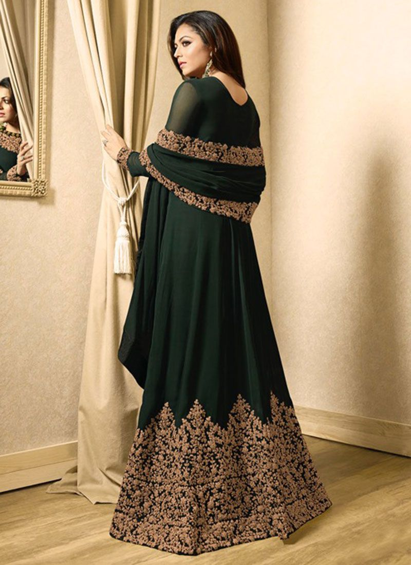 2d616a9a4f Buy Drashti Dhami Dark Green Abaya Style Anarkali Suit, Embroidered ...