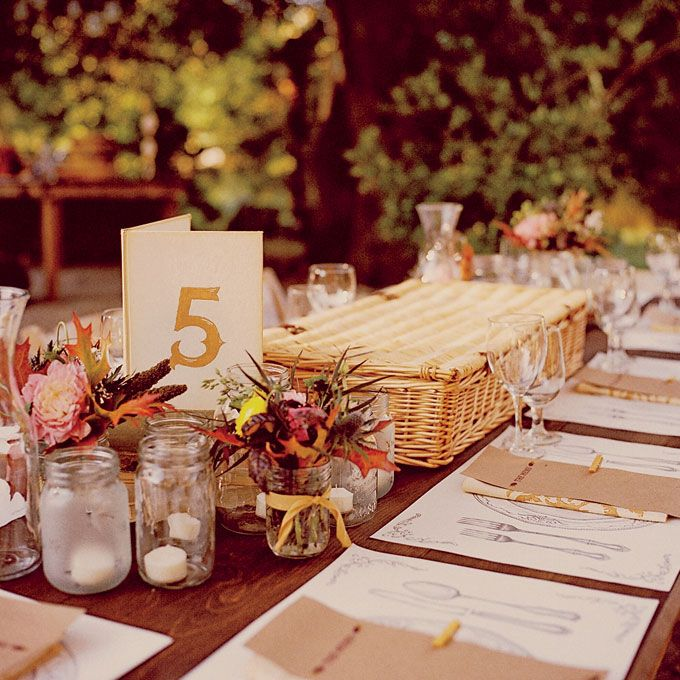 Mason Jar Wedding Reception Ideas: Mason Jar And Picnic Basket Centerpiece
