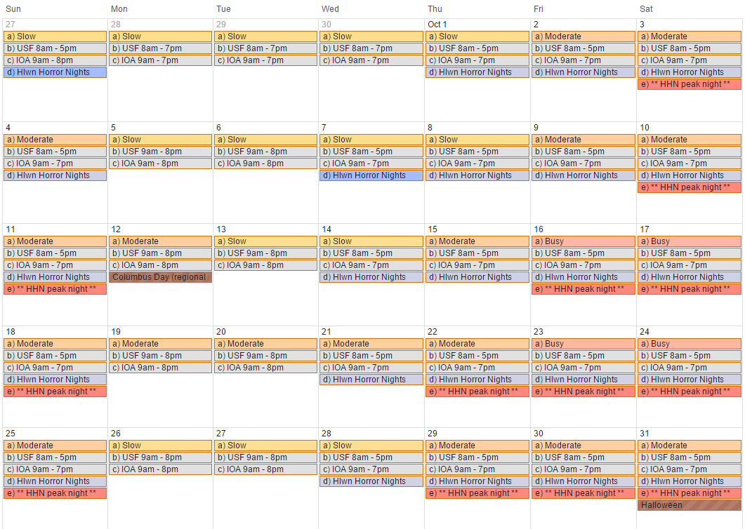 Universal Studios Orlando Crowd Calendar 2022.Pin On October Trip