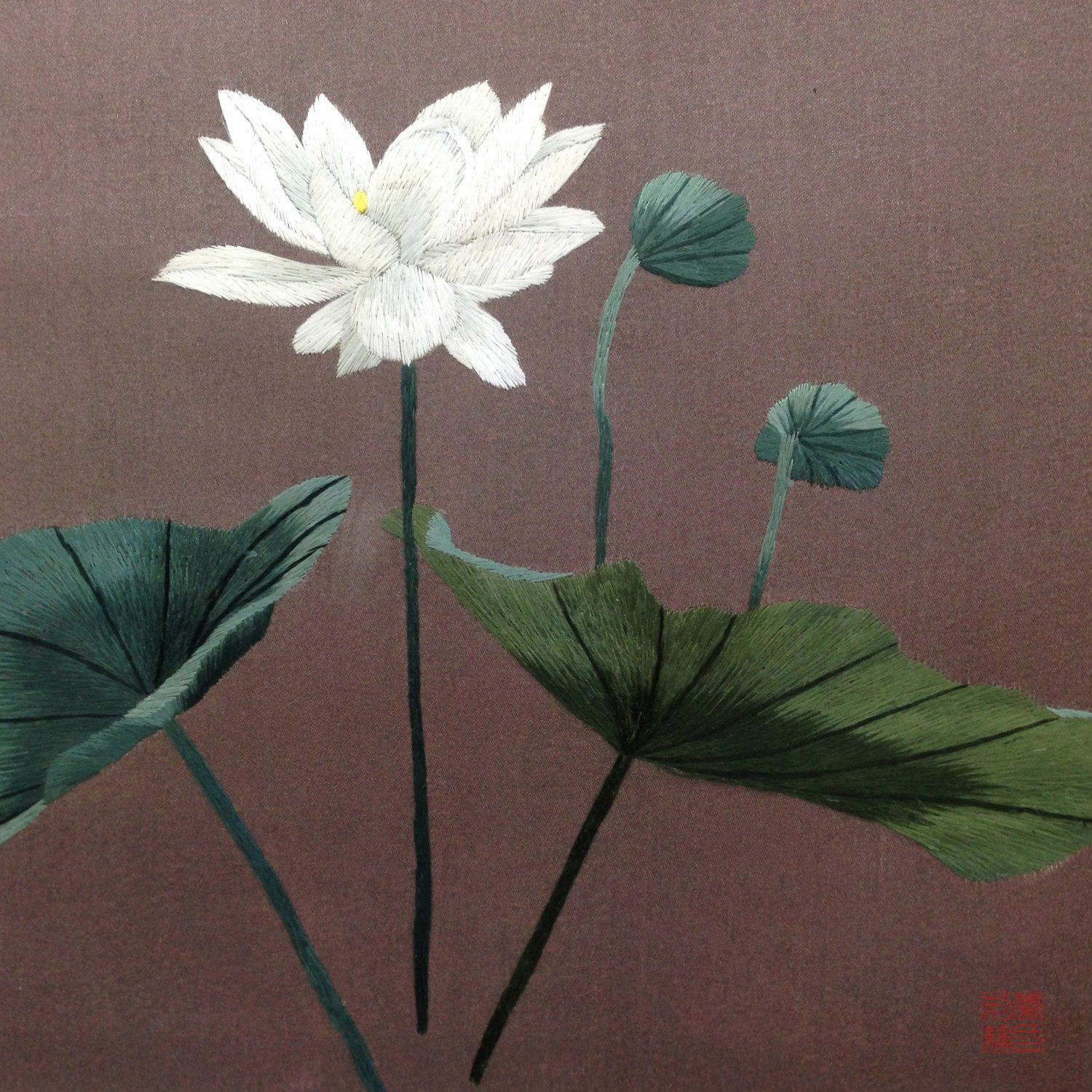 White lotus with buds beautiful handmade silk embroidery art white lotus with buds beautiful handmade silk embroidery art 36152 http izmirmasajfo