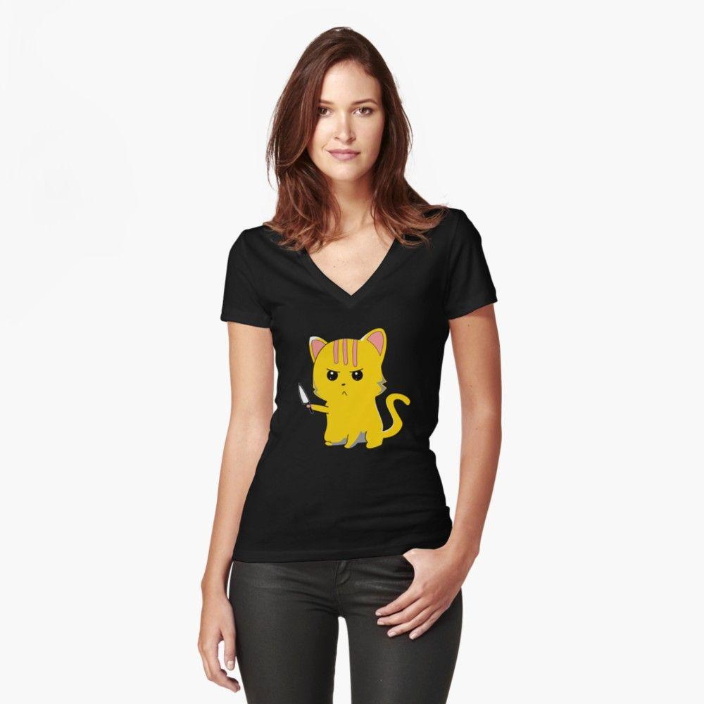 Susse Katze Mit Messer Slim Fit T Shirt Shirts T Shirt Susse Katzen