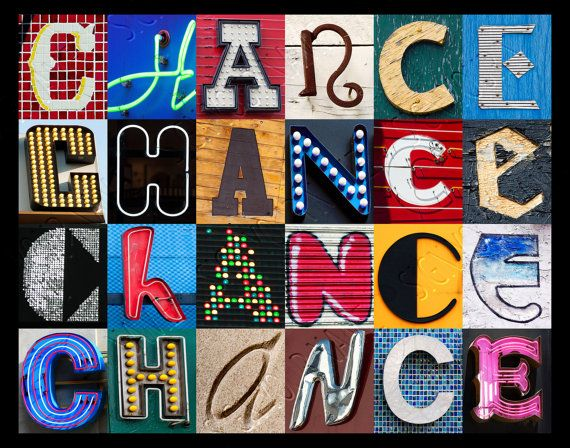 Personalized Poster featuring CHANCE showcased in letters from signs! -- SignYourNames  #chance #posters #personalized #popart #wallart #gifts #letters