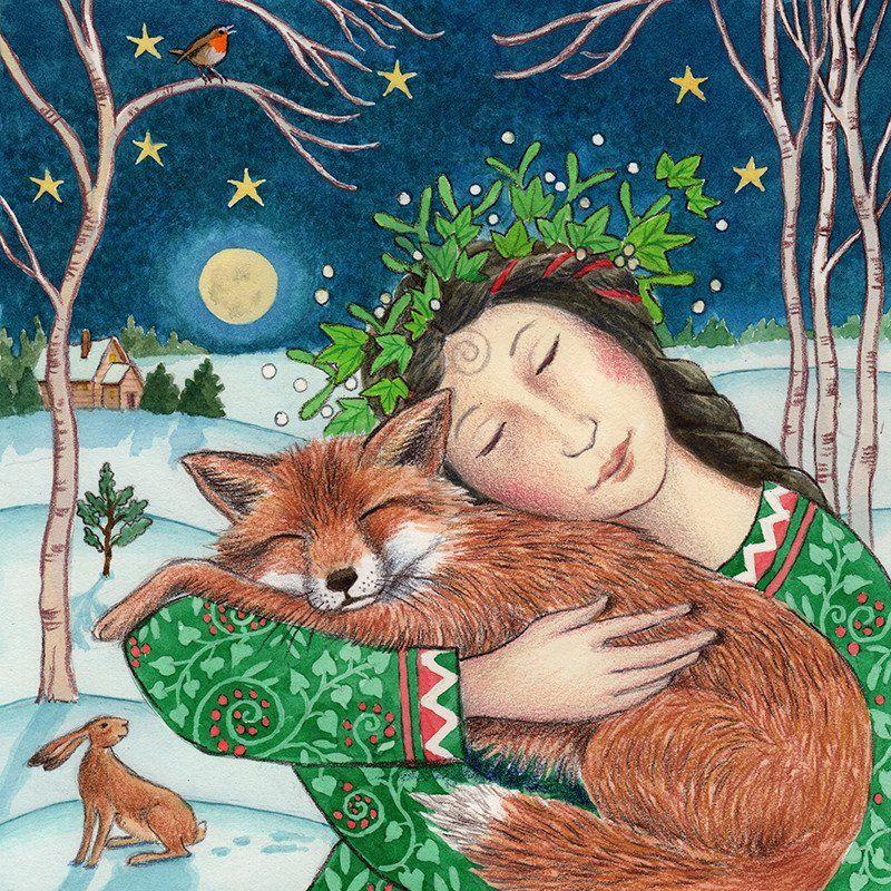 Yule Pagan Greetings card Christmas Animal love fox hare badger wendy andrew