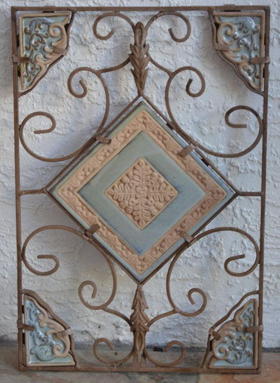 Decorative Tile Wall Art Vintage Wrought Iron Tile Wall Art Panel Hangingkagumise