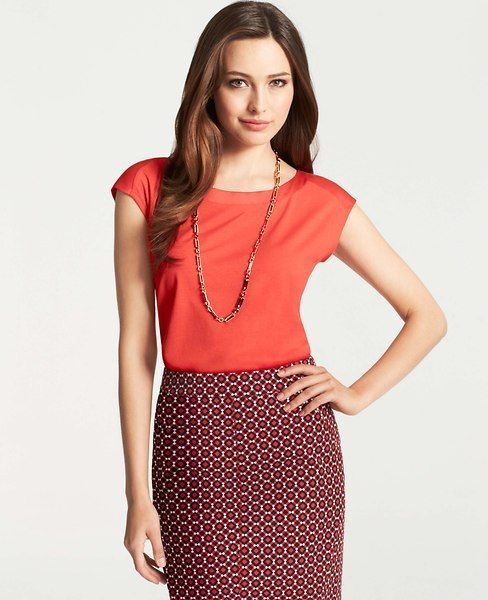 Brand New Ann Taylor Petite Snap Shoulder Top Color Red Size M #AnnTaylor #SnapShoulderTop