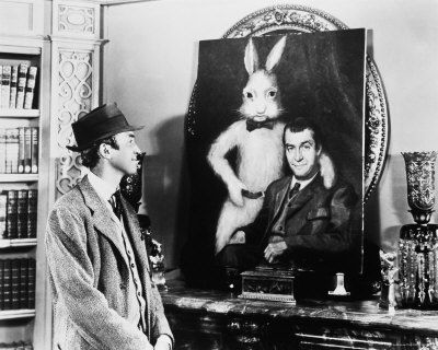 Harvey 1950 : James Stewart as Elwood P. Dowd.    Wilson: Who's Harvey? Miss Kelly: A white rabbit, six feet tall. Wilson: Six feet? Elwood P. Dowd: Six feet three and a half inches. Now let's stick to the facts.
