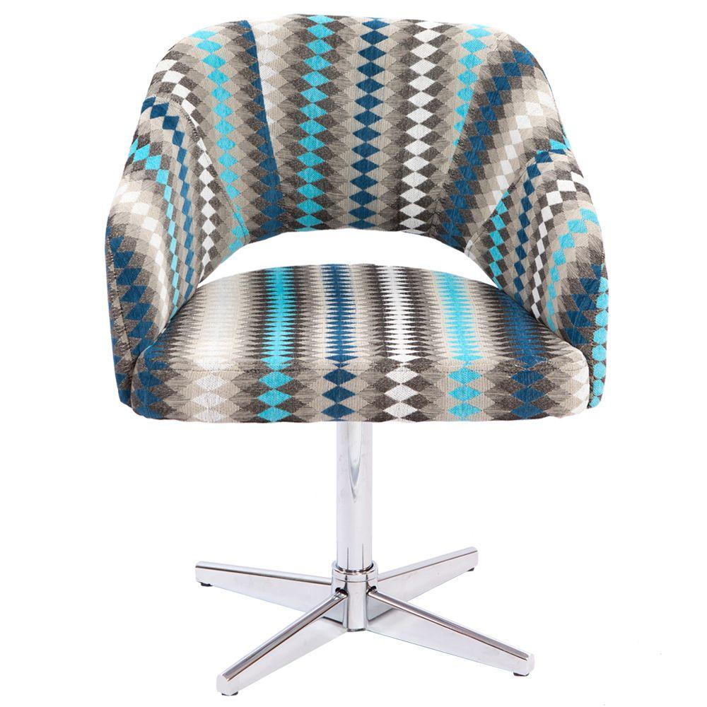 Cadeira Decorativa Girat Ria Com P S Cromados Smile Cadeira