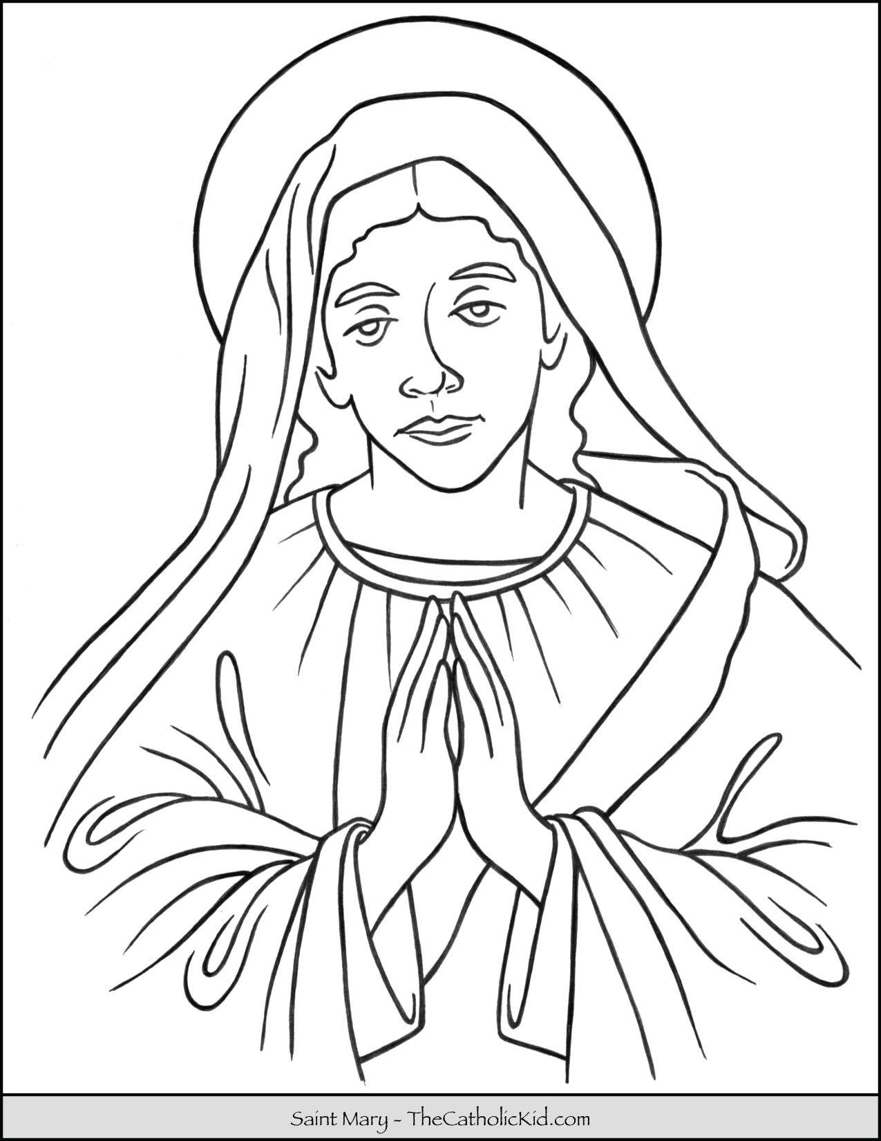 Saint Mary Coloring Page Thecatholickid Com Desenhos Desenhos