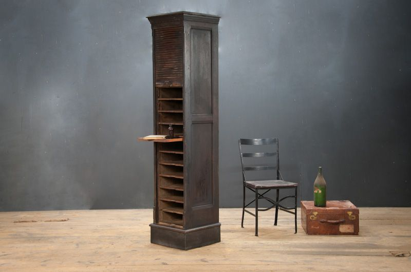 USA, 1890s, Early Turn-of-the_Century Composer's Sheet Music Storage Cabinet. Very Unique Tall, Slender Cabinet With Roll Top Tambour Door. ... factory20.com