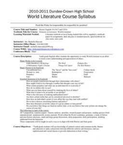 teaching of literature course syllabus