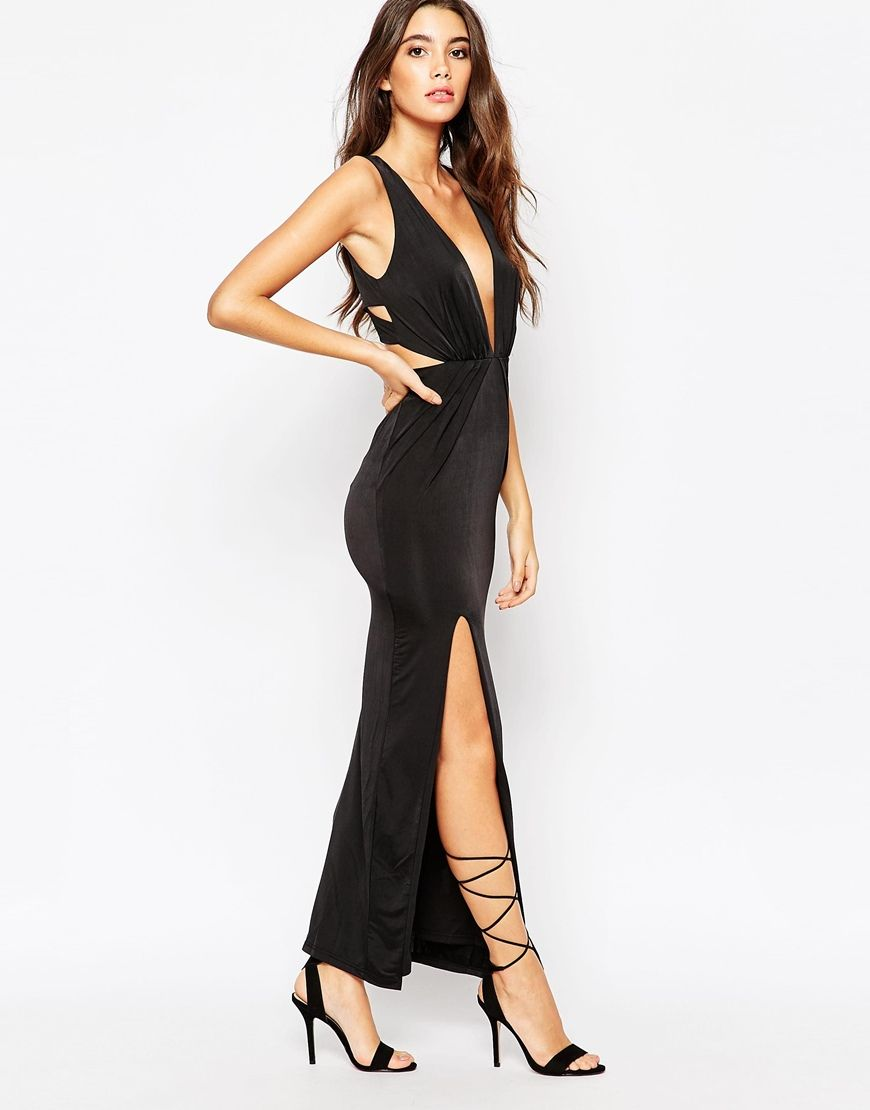 Image 4 of NaaNaa Deep Plunge Wrap Maxi Dress With Thigh Split