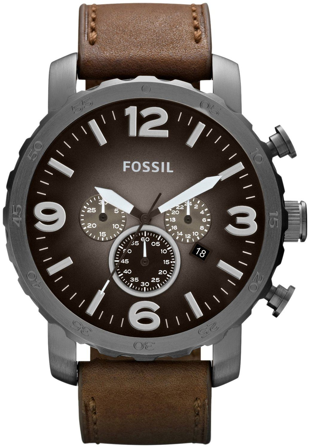 fossil jr1424 montre homme quartz analogique cadran marron fossil men s chronograph nate brown leather strap watch watches jewelry watches macy s