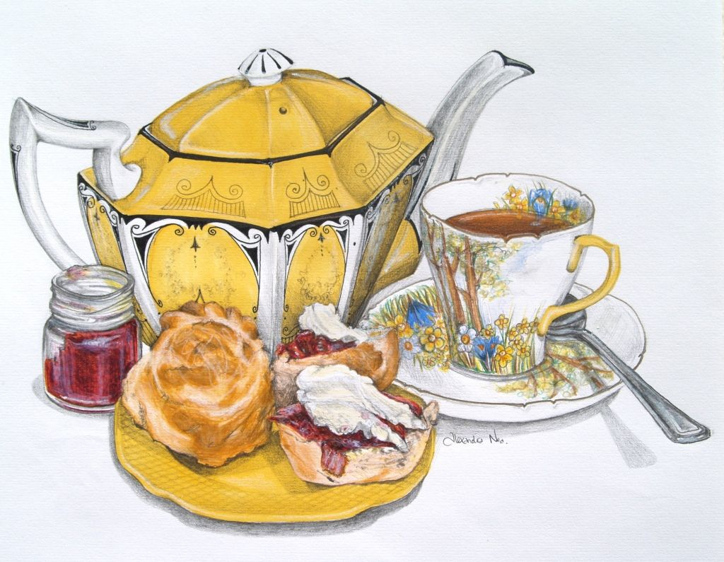 Alexandra Nea ~ Classic Scones ~ Such a beautiful blog full of 'tea themed' artwork by Alexandra
