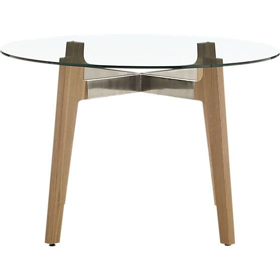 brace dining table in dining tables | CB2 $399 | Cb2 dining table, Glass round dining table ...