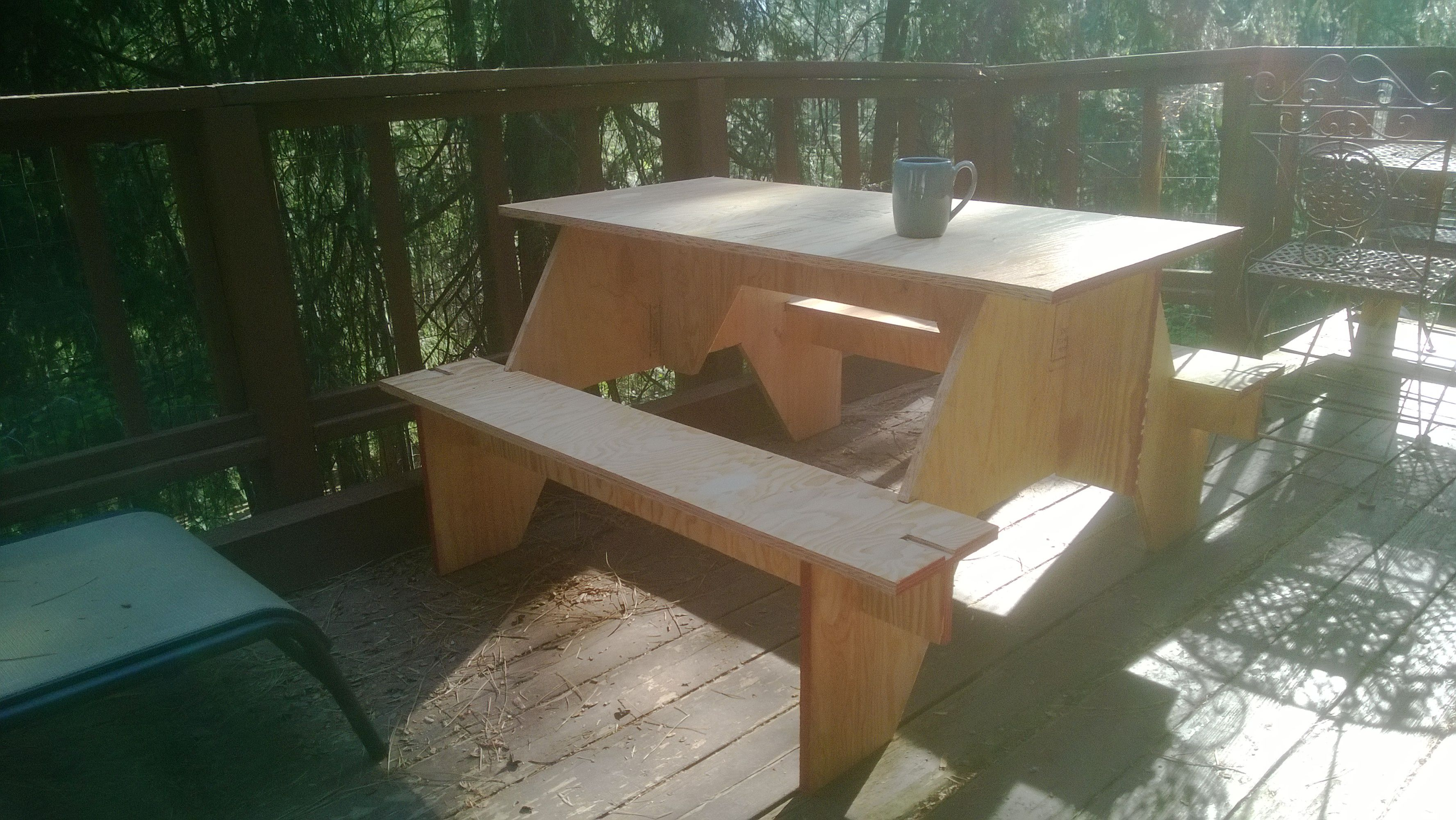 Picnic Table Made From One Sheet Of 3 4 Plywood And 0 Hardware Madera Mesas Laminas