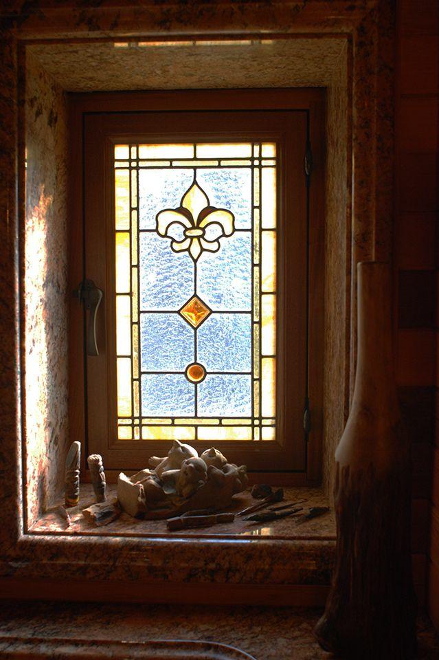 Thermal Leaded Glass Windows In A Bathroom   Custom Leaded Glass Bathroom  Privacy Windows Featuring Fleur
