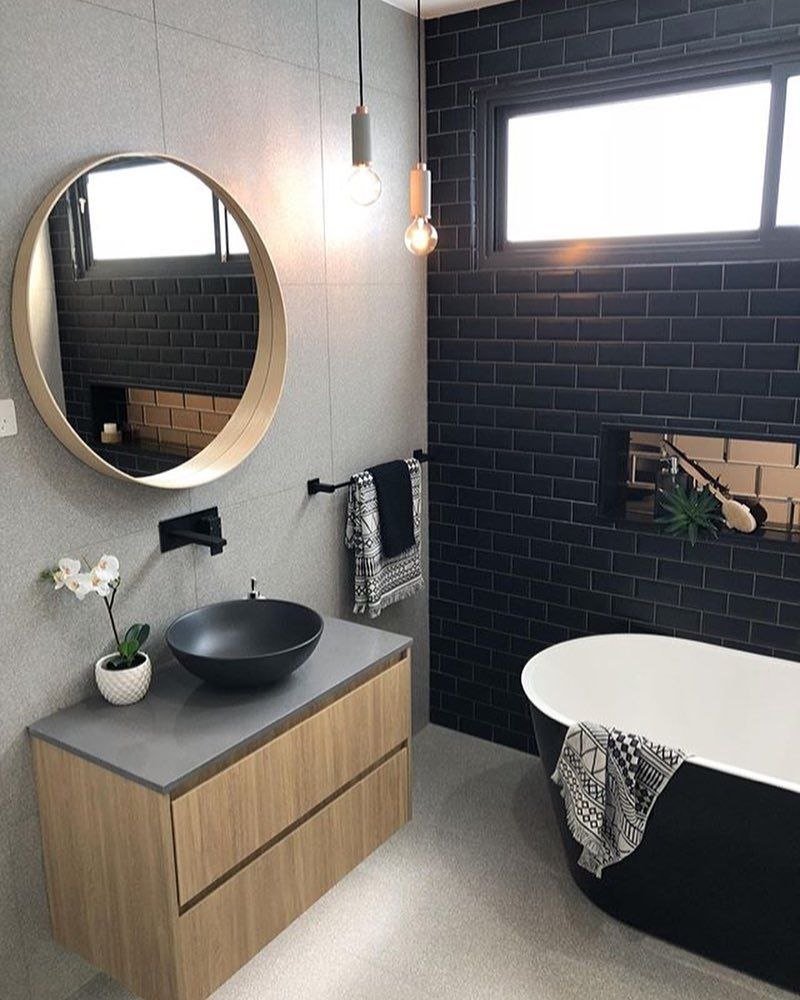 Timber Veneer Wall Hung Vanity With Charcoal Caesarstone Top Matte Black Round Top Moun Bathroom Feature Wall Round Mirror Bathroom Bathroom Feature Wall Tile