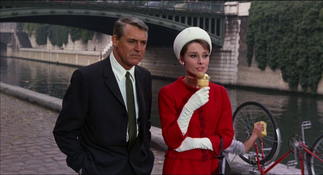 Red Coat And White Cool Weather Outfits Audrey Hepburn Charade Charade 1963 Audrey Hepburn