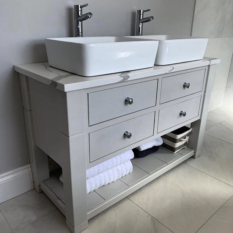 Double Sink Vanity Unit Custom Made White Marble Effect Quartz Top Sink Vanity Unit Bathroom Vanity Units Vanity Units