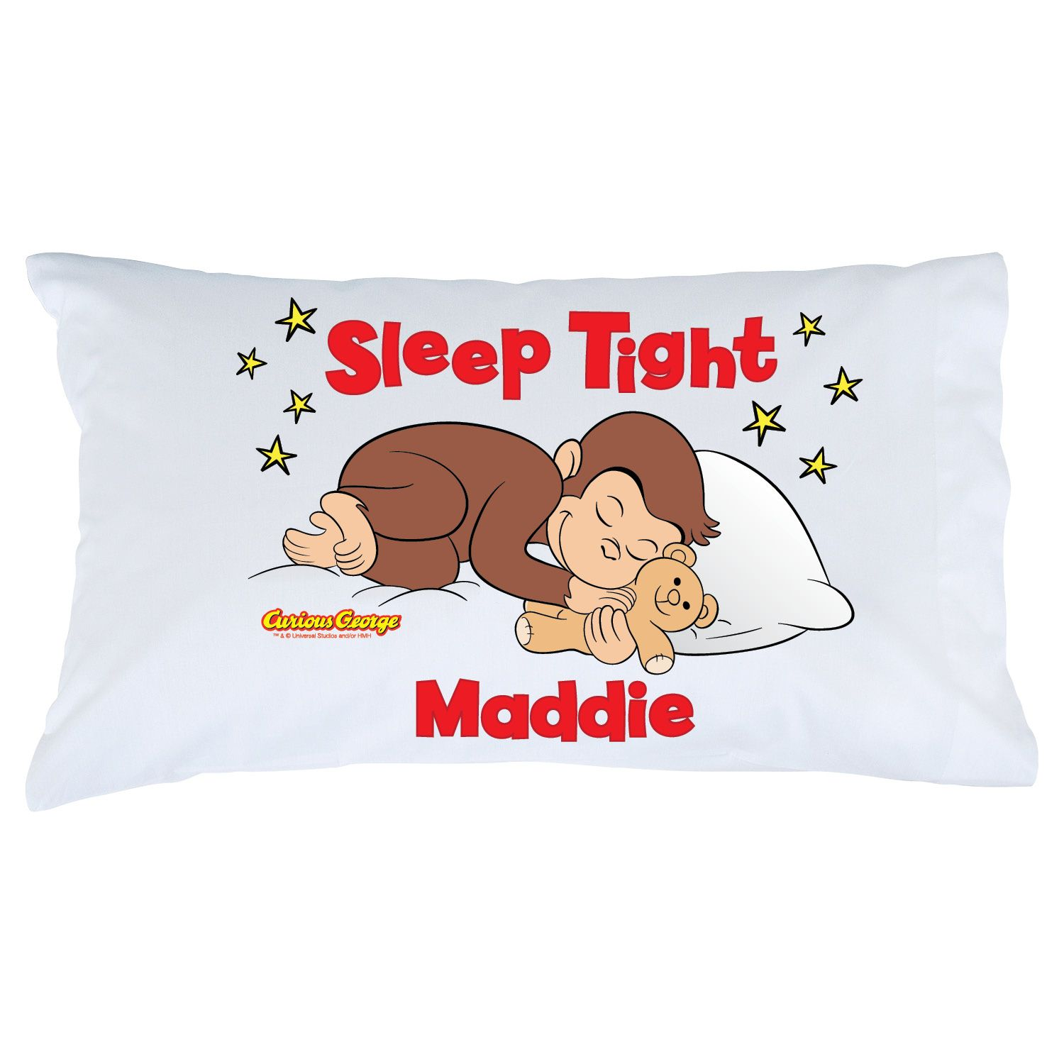 Our Curious George Sleep Tight Pillowcase Displays The Little Monkey  Nestled In For Bed With A Pillow And His ...