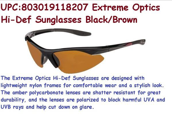 36327a36a3 Extreme Optics Hi-Def Sunglasses Black Brown The Extreme Optics Hi-Def  Sunglasses are designed with lightweight nylon frames for comfortable wear  and a ...