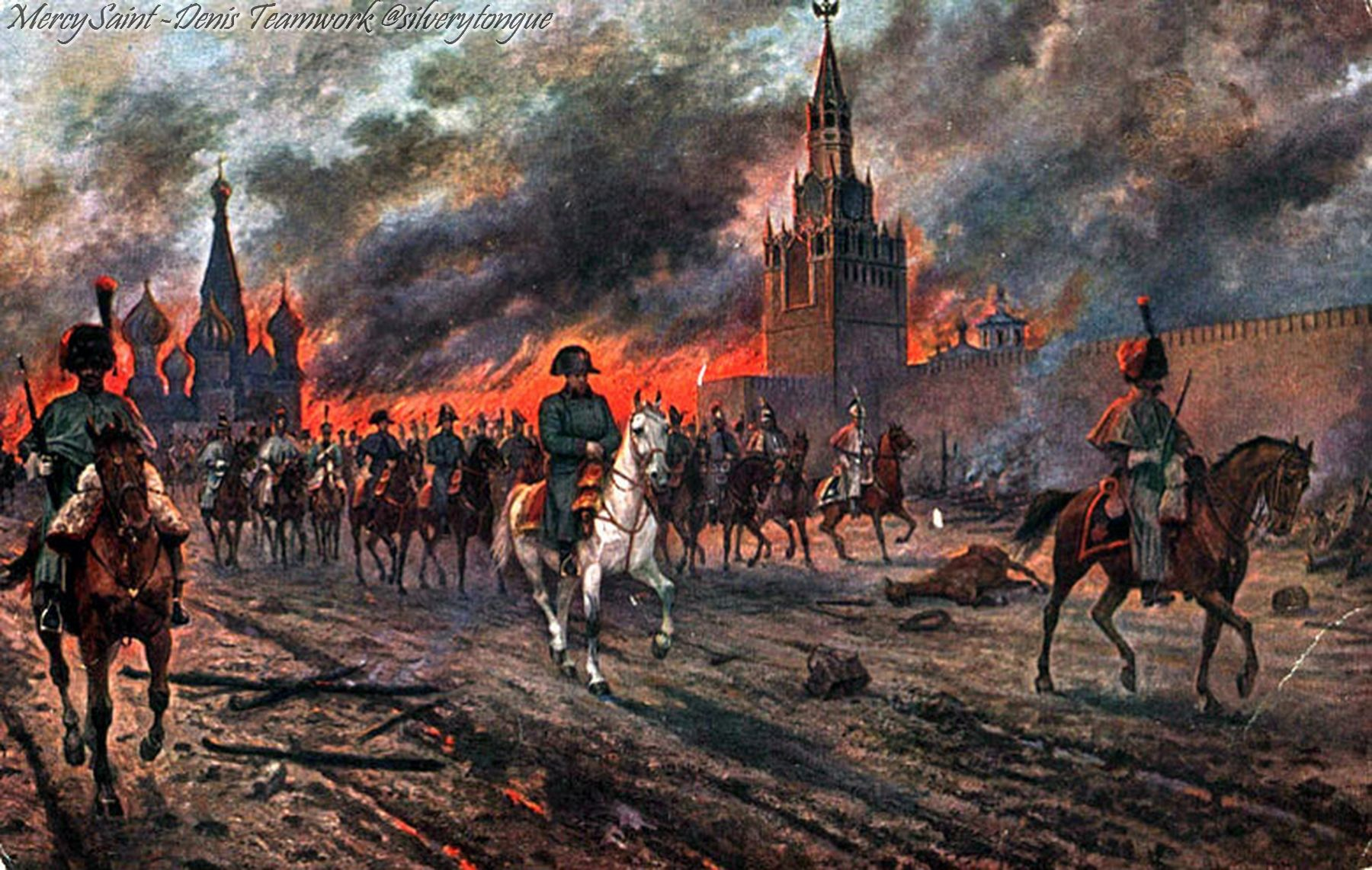 Napoleon Enters Moscow as it Burns, 14 Sept 1812.