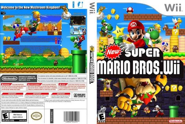 New Super Mario Bros Wii Custom Wii Cover Free Covers Super Mario Bros Mario Bros Wii