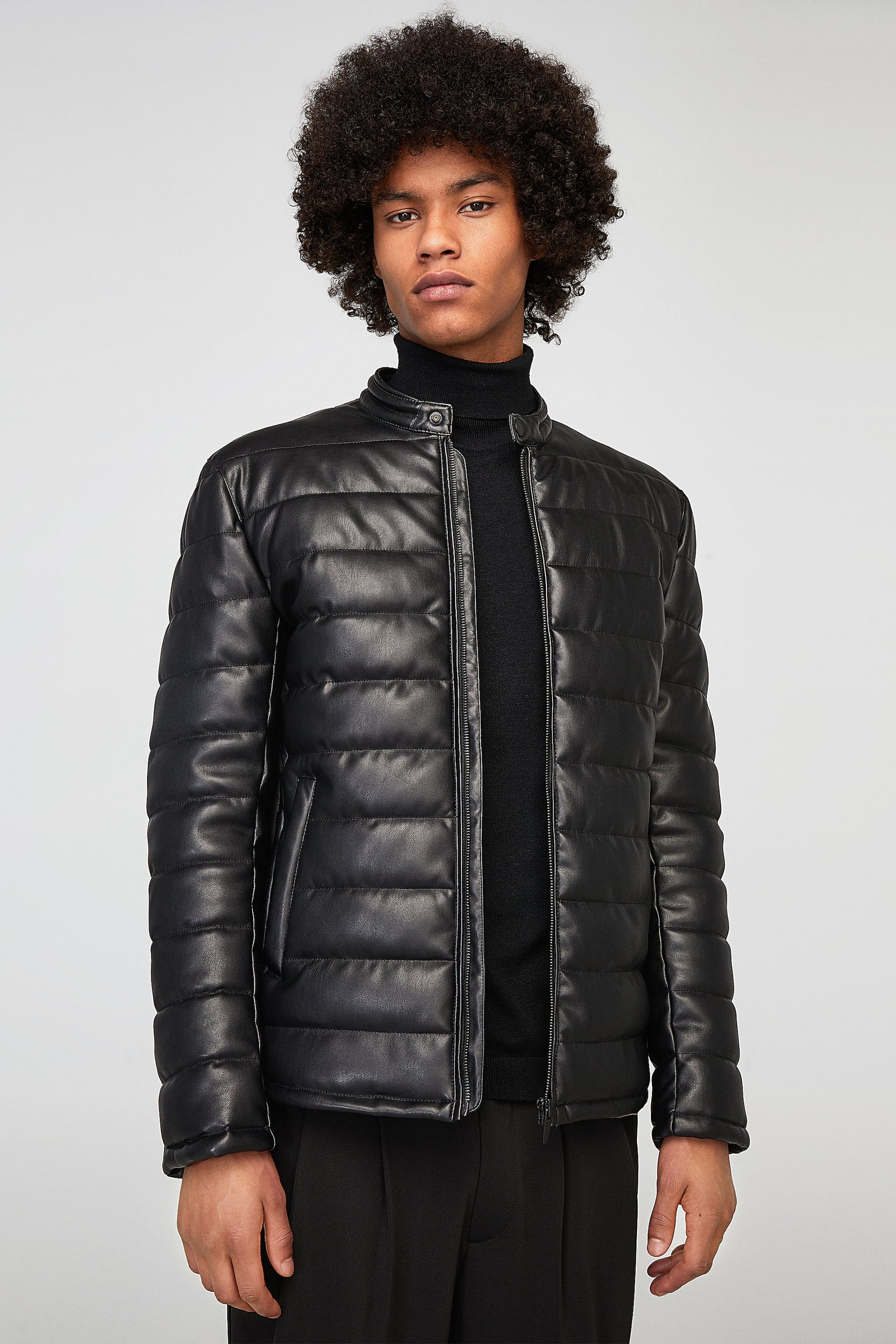 Faux leather puffer jacket Jackets, Puffer jackets, Leather