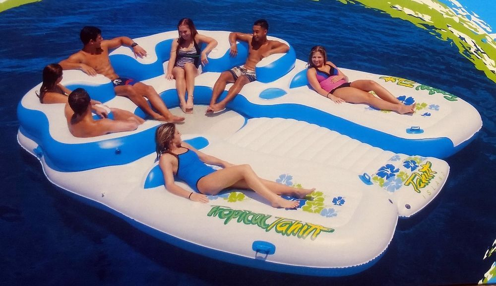 Huge Inflatable Floating Island 7 Person Raft Lake Float Cooler Tropical Tahiti Inflatable Floating Island Lake Floats Floating Island Raft