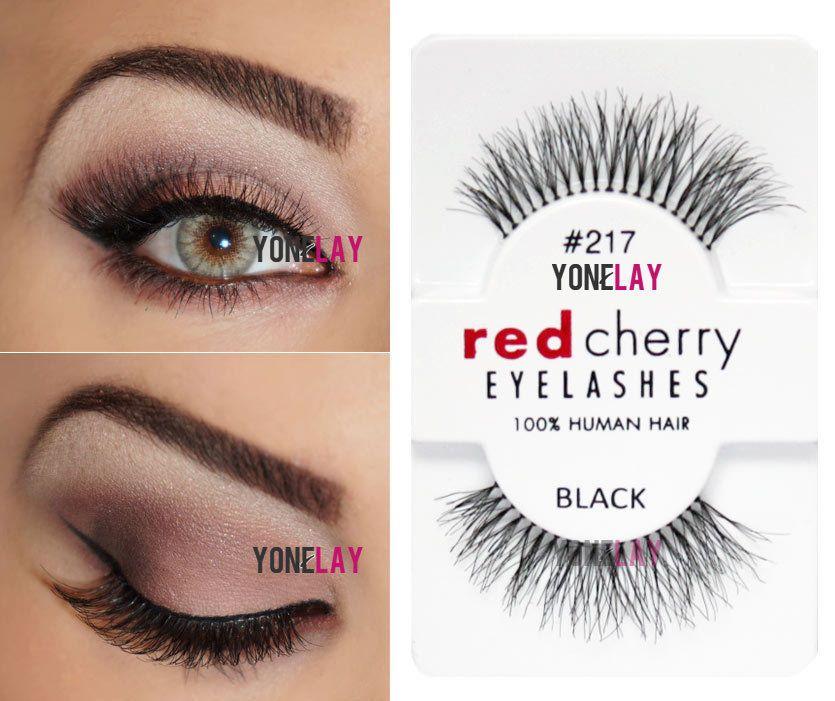 False Eyelashes and Adhesives: Genuine Red Cherry #217 Trace Human Hair  False Eyelashes Strip