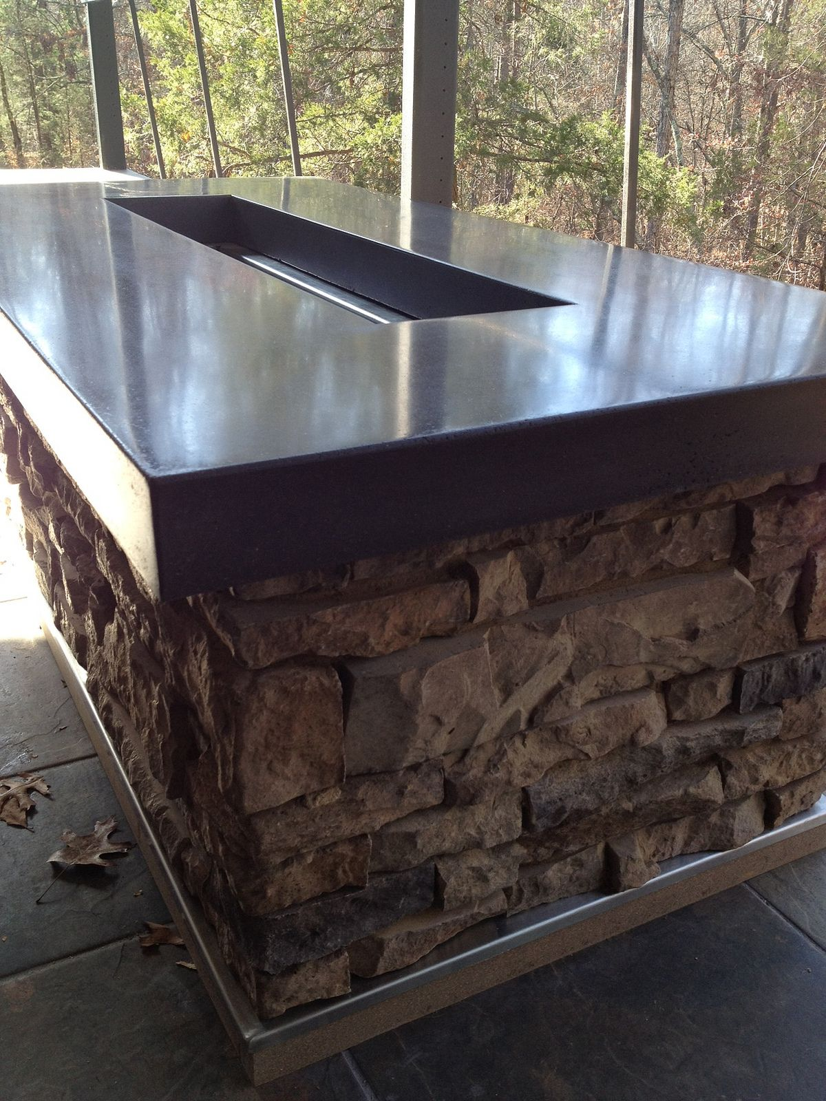 Polished Concrete Countertop Stained Sealed And Waxed Fire Pit
